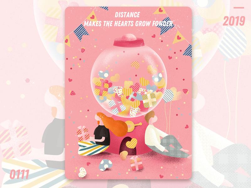 Distance love distance homepage illustration design