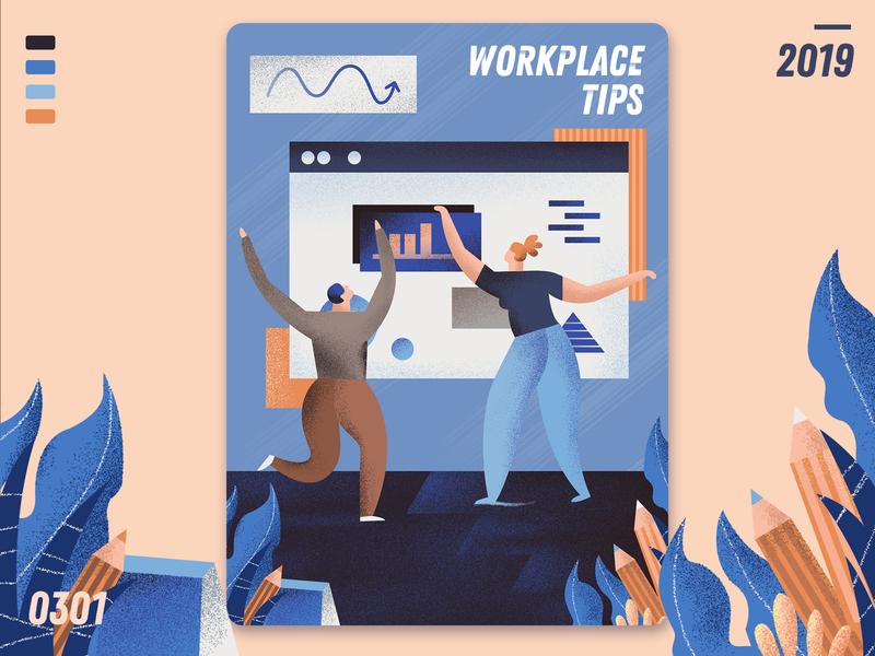 workplace tips flat  design ui  ux design ui homepage illustration design