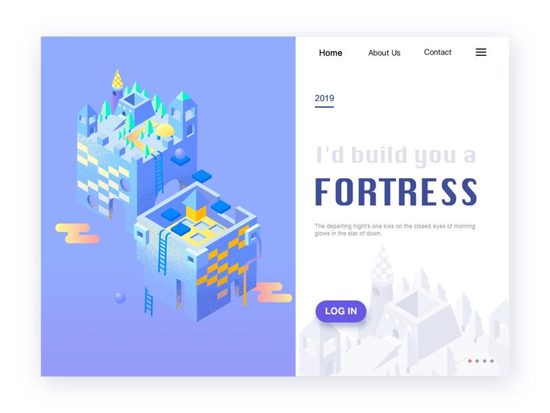 2.5D 小城堡 2.5d ui ux设计 主页 ui 插图 设计