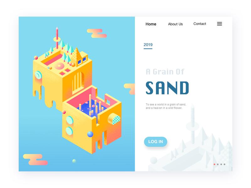 2.5D homepage ui  ux design 2.5d ui illustration design