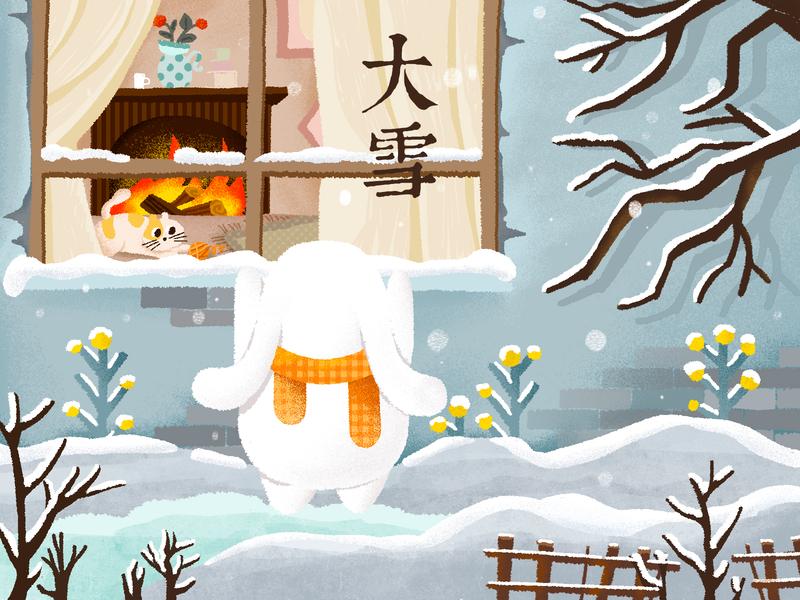 24节气-大雪 snow childrens illustration solar term illustration design