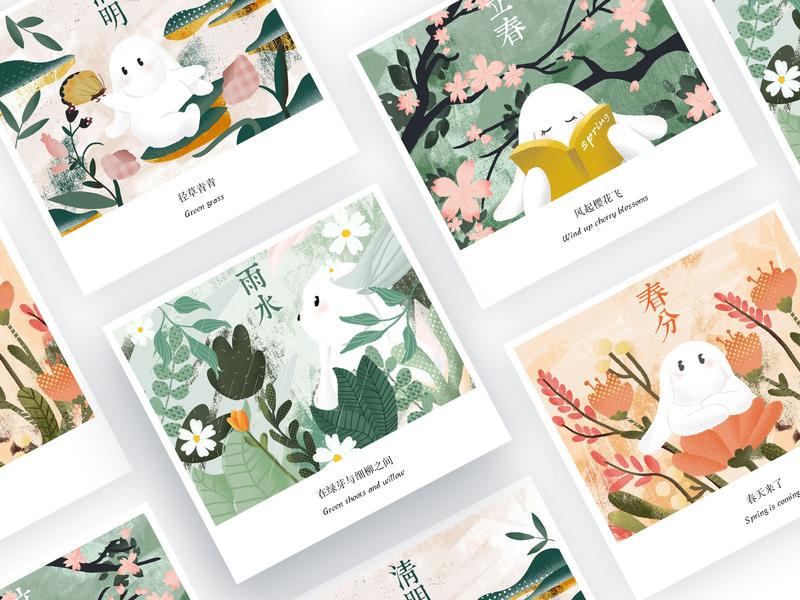 24节气-春 illustration design