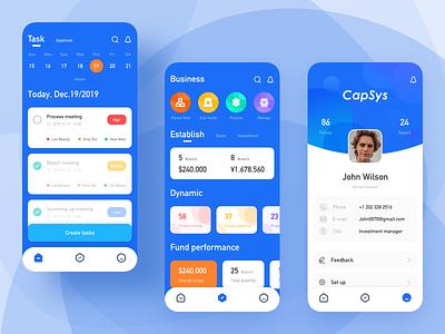 Investment management app capsys task approval task approval clean dashboard design app blue sketch