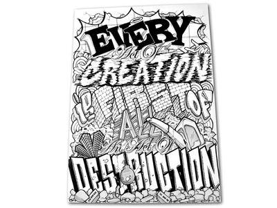 create//destroy ink destruction creation typography blackandwhite bw illustration letters