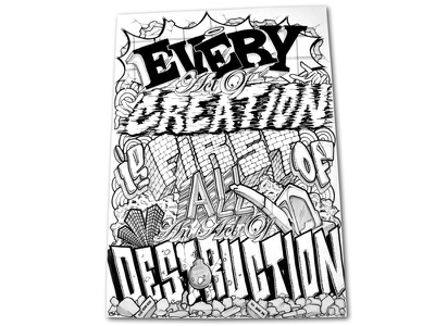 create//destroy ink destruction creation typography blackandwhite bw illustration letters