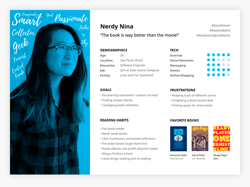 ux persona for book app by dani guerrato on dribbble