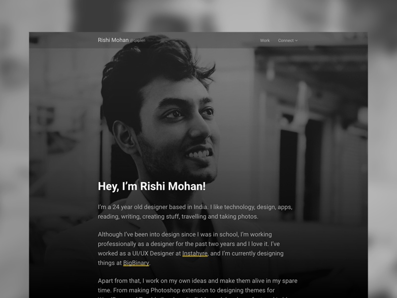 About Page – Personal Site ui typography black dark about website personal