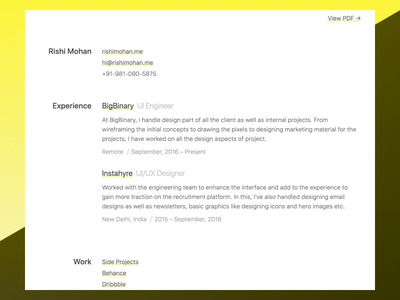 Resume simple clean personal web yellow black white minimal resume design
