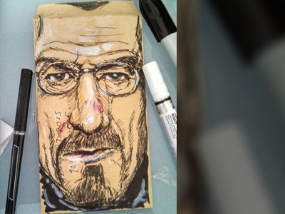 Walter White Doodle walter white breaking bad doodle envelope recycled