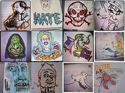 Instahh grooble doodle sketch office supplies skull barf america