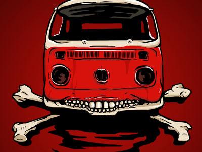 Skullbus & Crossbones vwbus volkswagen transporter kamper rust van bus