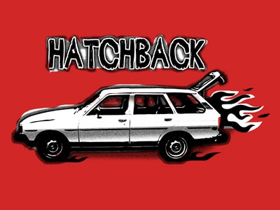Hatchback toyota 80s station wagon hatchback fire stencil