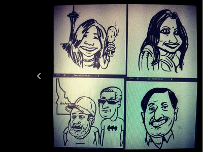 quick caricatures for a client  caricatures cartoon pen and paper sketch seattle india idaho