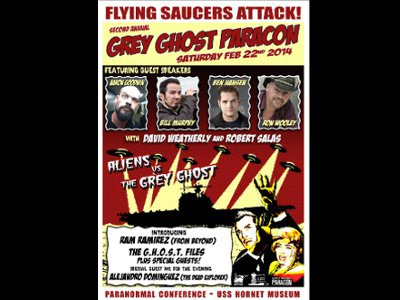 Grey Ghost Paracon 2014 poster grey ghost uss hornet paracon alameda paranormal 50s scifi horror ufo aliens