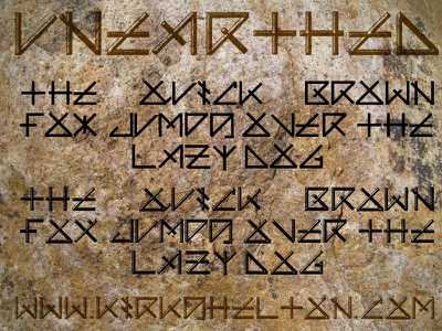 Unearthed Font font ancient hieroglyphics runes language stone tablet