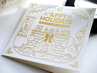 2020 Steamclock Holiday Cards letterpress cards monowidth gold gold foil foil stamp foil illustration holiday holiday card christmas christmas cards