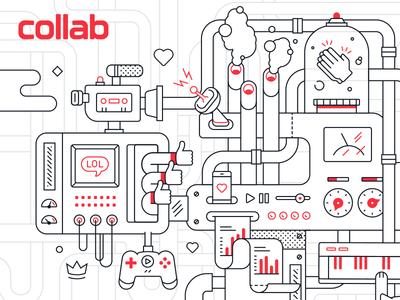 Collab Mural vector collab machine internet illustration mural