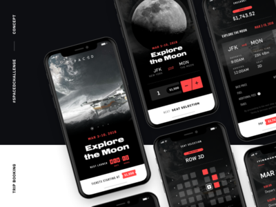 #SPACEDChallenge - App Concept sketch prototype booking travel white red tech moon concept app spacedchallenge