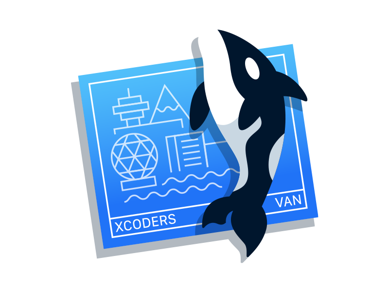 Vancouver Xcoders Logo branding blue and black blue vancouver xcoders orca illustration badge logo xcode xcoders vancouver