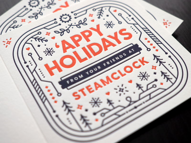 Steamclock Holiday Cards 2019 holiday cards blue red illustration letterpress cards christmas holiday