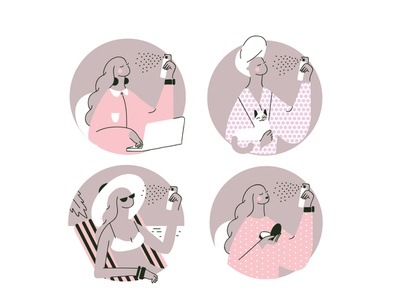 Icons icon illustration spray women female beauty product icons vector icons