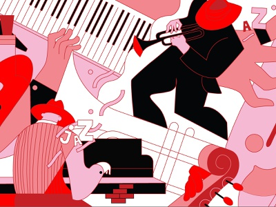 Sketch for a mural for a jazz club vector illustration mural music jazz illustration