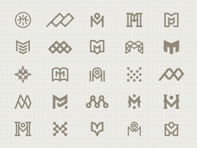 "Logo Explorations ""M"" map iconography icon design design logo design identity branding m monogram logo"