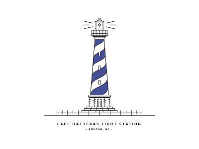Cape Hatteras Light Station – NC design illustration icon north carolina nc cape lighthouse