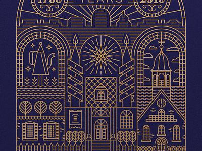 Old Salem 250th Anniversary Illustration monoline winston-salem illustration nc north carolina old salem