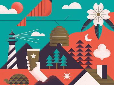 North Carolina Puzzle nature dogwood pine lighthouse turtle cardinal geometric north carolina nc design illustration puzzle