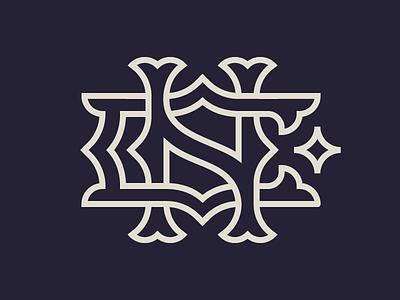 NC Monogram minimal monoline badge type icon logo monogram nc