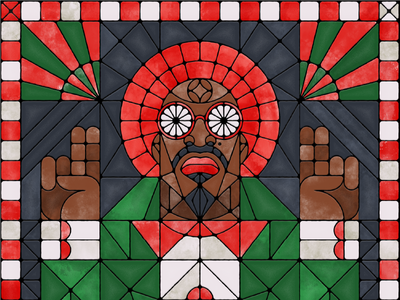 Andre 3000 glass rapper 3000 christmas geometric stained glass illustration andre