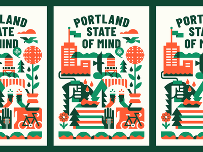 Portland State Of Mind minimal university event festival multiply vector coffee outdoor forest color geometric illustration design oregon portland