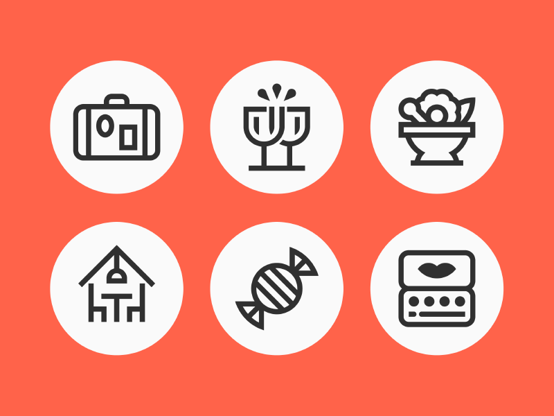 Dearduck App Icons design icon icon set beverage food home luggage cheers gift illustration app  design app app icons icon design