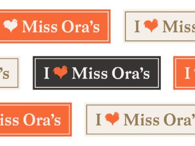 Miss Ora's Kitchen branding badge typography vector icon nc north carolina style guide restaurant chicken illustration logo design concept logo design brand identity branding brand and identity