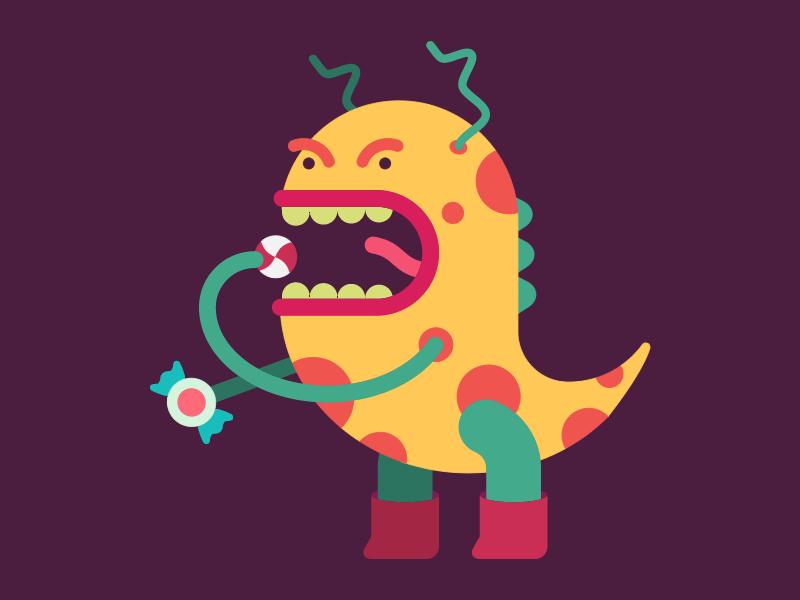 Candy Monster pediatric illustartion social media monster dentist