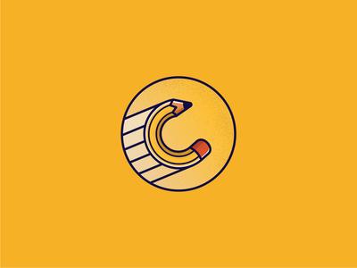 Logos C and Pecil pen logoline lines line circle logo circle yellow pencil art pencils pencil logo design logo