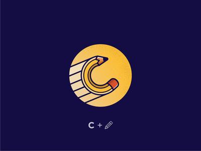 logo C and Pecil logomark combination rounded round logo blue concept line yellow logo clean pencil pencil sketch logodesign logo