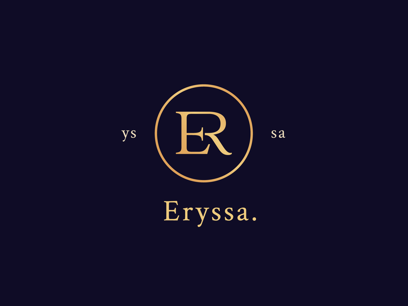 logo Eryssa. feminism feminist feminine logo feminine product cosmetic cosmetics cosmetic logo classic classy golden gold needlogo elegant luxury brand luxury logo luxury logotype logo design logo