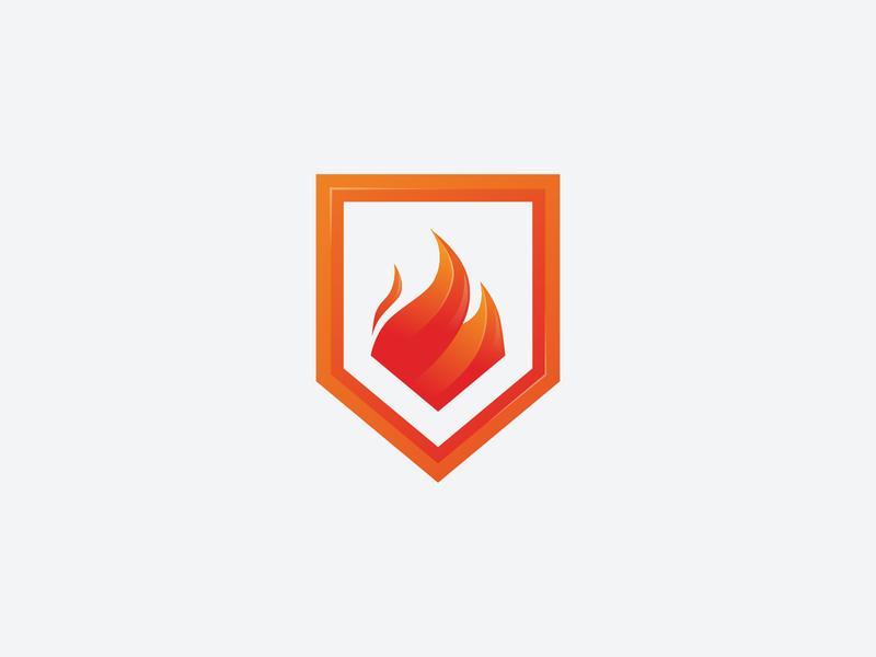 Fire Shield Logo illustrator warm war strong dual meaning protect protection safe security icon secure red flames flame fire shield identity brand logo design