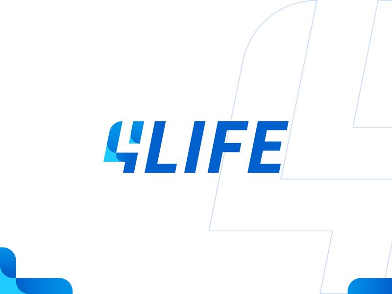 4Life Logo blue dualmeaning logotype four life corporate identity corporate corporation finance insurance logo card app insurance logo