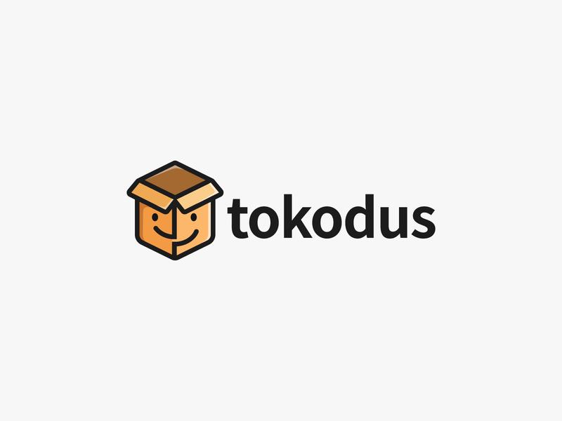 Logo Tokodus branding logodesign logo box business sell smile mascot icon merk brand box store shop toko logo
