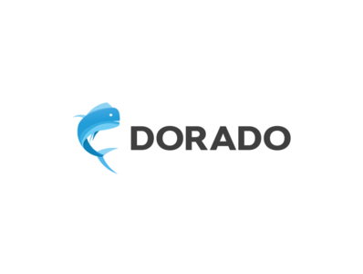 DORADO logo flat fish blue doarado vector logo illustration