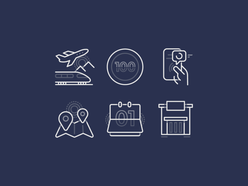 Icon exploration clean message build coin train airplane pin map calendar phone icons iconset