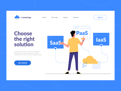 Cloud services cloud app iaas paas saas first screen boy flat character clean illustration