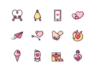 Love Icons иллюстрация like bomb key hand gift box clean valentine day heart vector icon set icon love
