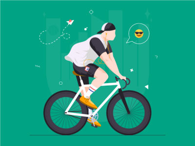 Meteor music fashion style character chill city bike velo vector clean illustration