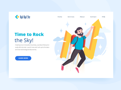 Time to rock boy first screen arrow ui jetpack sky startup character banner vector illustration