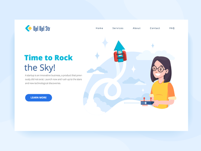 Time to rock vector ui startup fly sky jetpack illustration girly first screen girl character girl banner arrow
