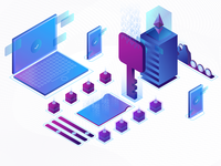 Blockchain Isometric Illustration